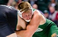Ohio's Hunter Yeargan wrestles Utah Valley's Ashton Seely on Feb. 21, 2020 in The Convo.