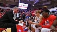 Jeff Boals (left) coaching at Stony Brook. (photo via Stony Brook University Athletics)
