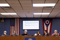 Members of the Athens City Council discuss an ordinace with Drive Ohio during a City Council Meeting on Monday, August 27, 2018.
