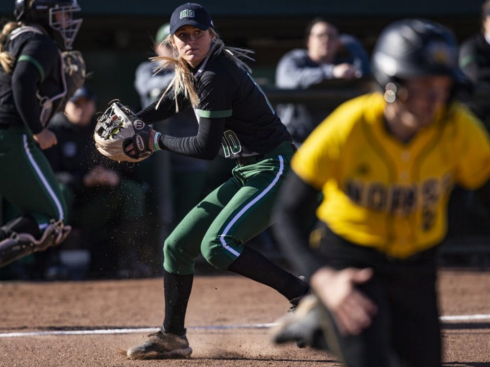 Ohio infielder Alex Day (#10) throws a fielded ball to first base during the Bobcats game against Northern Kentucky on March 26. The Bobcats beat the Norse 3-1. (File)