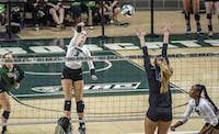Ohio University outside hitter, Lizzie Stephens, hitting back row during the game against Buffalo University on September 28, 2018. (FILE)
