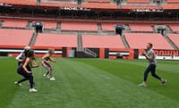 "The ladies ""bring it on"" at First Energy Stadium as they travel to Cleveland, Ohio for week four.(Photo provided by @bachelorabc on Instagram)"