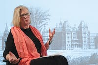 """Katherine Ziff, Author of """"Asylum on the Hill,"""" spoke about her book in the Alden Library Tuesday. Ziff is a graduate of Ohio University. (Conor Ralph 