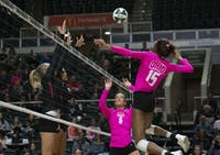 Ohio University middle blocker Tia Jimerson swings at the ball in a game against Ball State in Athens, Ohio on October 19, 2019. (FILE)