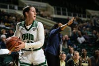 Ohio's Gabby Burris prepares to shoot the ball during the Bobcats' game against Purdue on Wednesday.