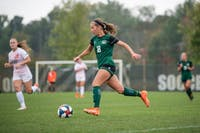 Ohio University defender Sydney Leckie dribbles the ball across the field during the game versus Bowling Green on Sunday, October 6, 2019. (FILE)