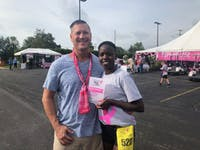 Joan Jepkirui (right) with her boyfriend Matthew Glick (left) after the Findlay Race for the Cure.