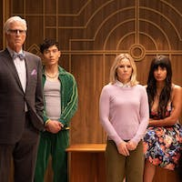 Michael (Ted Danson), Janet (D'Arcy Carden) and the humans work to save Earth in the latest episode of 'The Good Place.' (Photo provided via @nbcthegoodplace on Instagram)