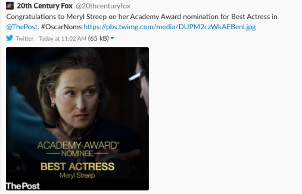 People keep tweeting us @ThePost instead of the Oscar-nominated 'The Post'