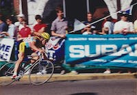 Lance Armstrong rounding the corner of Congress and Union streets in 1990. Photo by Beth Brown provided via Daniel Brown.