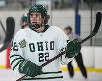 Ohio's Tyler Harkins during the Bobcats' game against UNLV in the 2018 ACHA National Tournament on March 9. The Bobcats beat the Rebels 3-2 in overtime. (FILE)