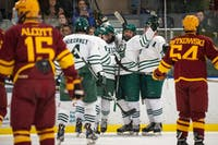 Ohio celebrates after the second goal of the Bobcats' 2-0 shutout against the Iowa State Cyclones on Saturday, Feb. 16, scored by Gabe Lampron (#23) and assisted by Alex Singley (#19). (FILE)