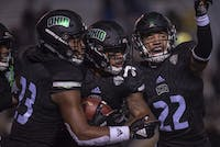 Ohio players celebrate a touchdown against Western Michigan.