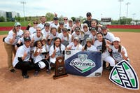 Ohio's softball team celebrates its Mid-American Conference Championship victory Saturday. (provided via Ohio Athletics)