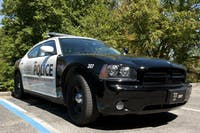 An OUPD cruiser parked outside the department's headquarters in Scott Quad. (FILE)