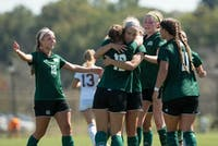 Ohio celebrates after scoring a goal against Central Michigan on Sunday. The Bobcats won 3-0.