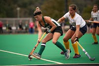 Ohio University forward Emma Eggleston protects the ball during the game against Kent State on October 19, 2018.