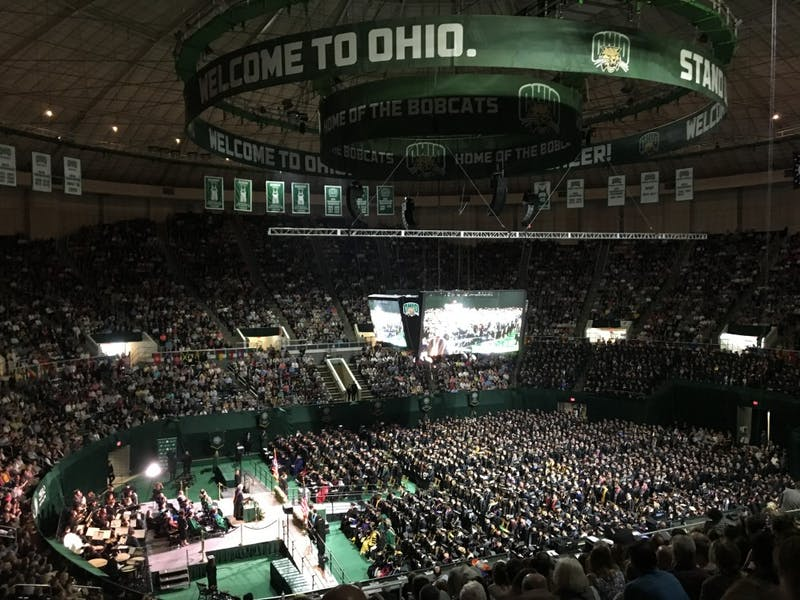 (FILE) 2019 graduates sit in The Convo at undergraduate commencement Saturday morning.