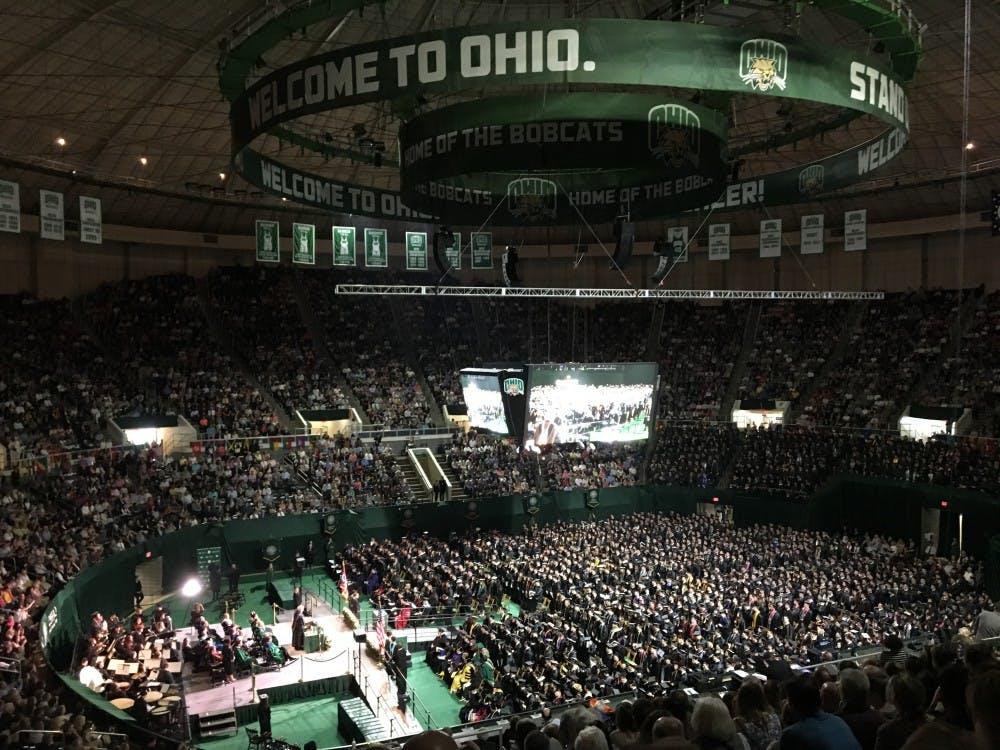 (FILE) 2019 graduates sit in The Convo at undergraduate commencement Saturday morning.
