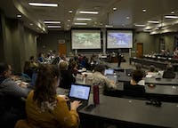 Ohio University's Faculty Senate gathers in Walter Hall to discuss concerns on Monday, February 3, 2020.