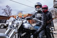 Nick Whitney sits on his Harley-Davidson before taking his bike out for a cruise with his wife, Adrienne, on Sunday March 24, 2019. (Nate Swanson   For The Post).
