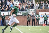 Ohio wide receiver Papi White (#4) runs up the field during the Bobcats' game against Bowling Green on Saturday. (FILE)