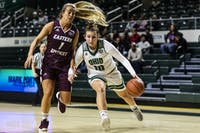 Dominique Doseck (no. 10) drives to the basket during the first half of the Ohio Bobcats women's basketball game against Eastern Kentucky on Sunday.
