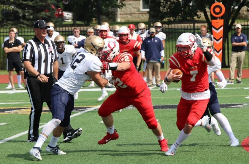 In the Cardinals' Homecoming game, sophomore athlete Luke Schmeling rushed for 43 yards and a touchdown on 12 carries.