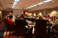 Student Government convene in the Roush Hall Board room to discuss issues of importance to the campus community.