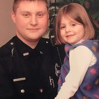 Savanah Jordan with her father, slain Westerville officer Eric Joering