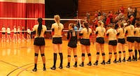 Otterbein volleyball alumni played this year's team at Homecoming.