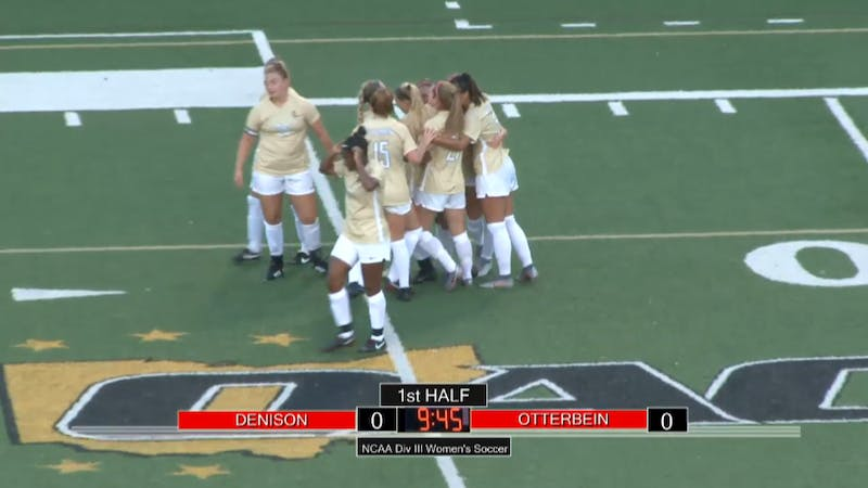 In the women's soccer home opener against Denison, junior midfielder Bella Shivley (#23) opened the scoring in the 36th minute from over 20 yards out.