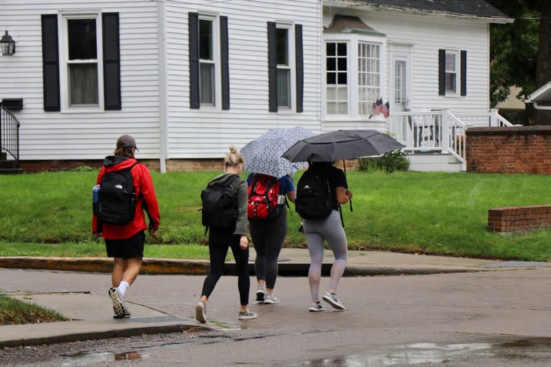 Otterbein Students walk through campus on their way to class.