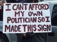 One protester's sign.