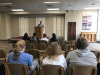 Jeremy Paul speaking at a meet the candidate forum