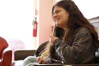 Jordan Hamzee, a freshman journalism major, eating lunch at the newly updated OtterDen.