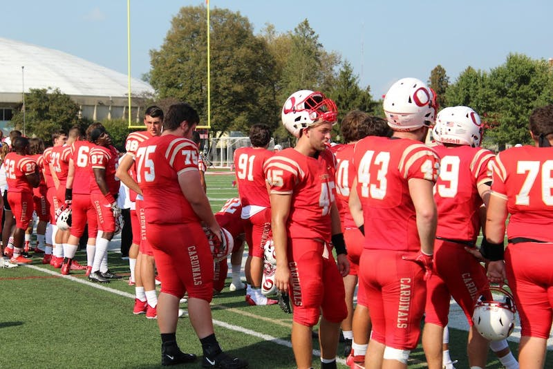 Otterbein football team during Homecoming game