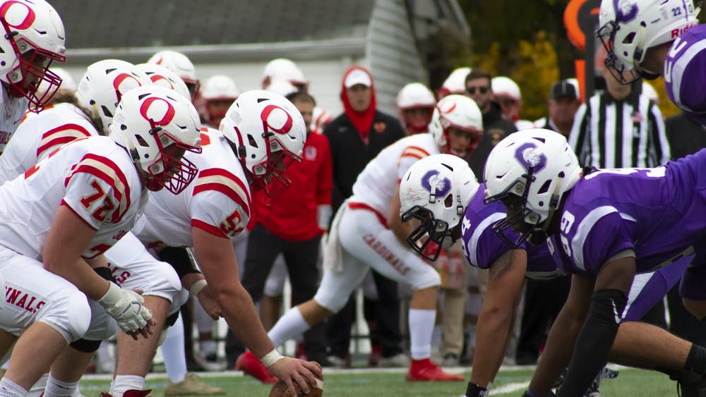 Otterbein football rushed for nearly 200 yards and four touchdowns behind their offensive line led by offensive captains Winston Spiker (#55) and Anthony Andrews (#62).