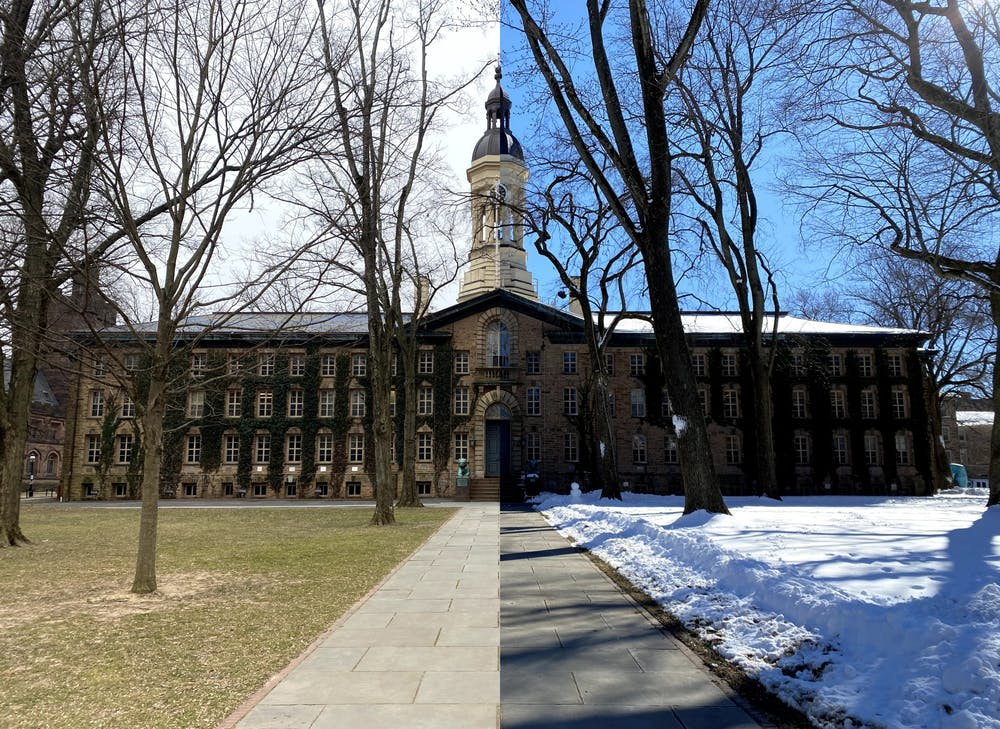 <h5>A view of Nassau Hall before and after the winter storm this week.&nbsp;</h5> <h6>Justin Cai / The Daily Princetonian</h6>
