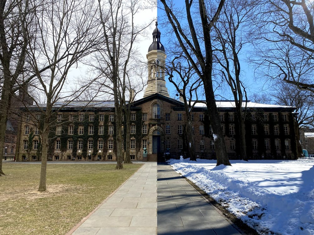 A view of Nassau Hall before and after the winter storm this week.  Justin Cai / The Daily Princetonian