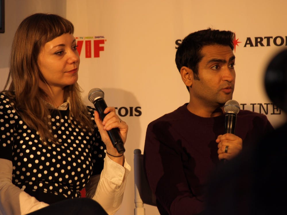 "<h6><strong>Emily V. Gordon and Kumail Nanjiani, </strong>""The Big Sick"" panel at Sundance 2017, Park City UT<br> <a href=""https://www.flickr.com/photos/punktoad/32616892101/"" target=""_self"">Photo</a> by PunkToad /<a href=""https://creativecommons.org/licenses/by/2.0/"" target=""_self"">CC BY</a></h6>"