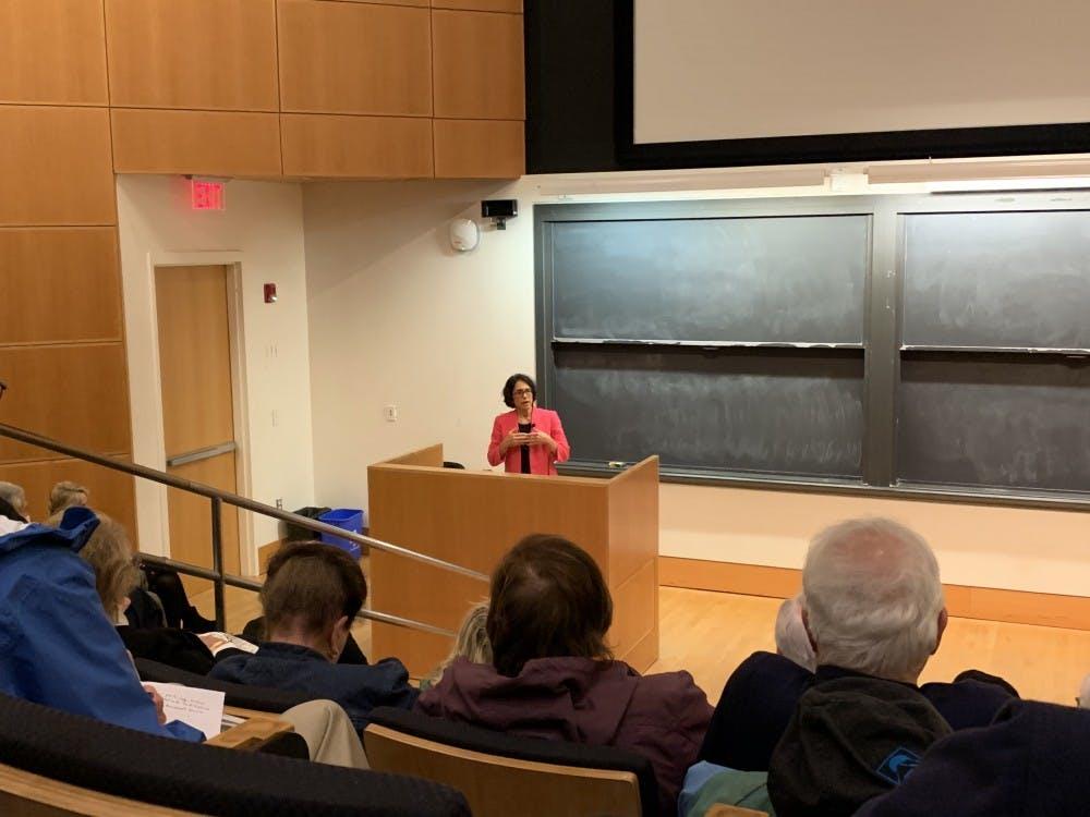 Jennifer Rubin speaks in the Friend Center.