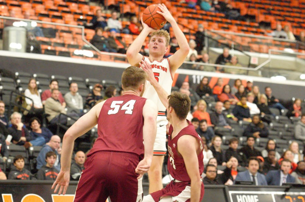 Drew Friberg attempts a shot against Lafayette. Photo Credit: Jack Graham / The Daily Princetonian