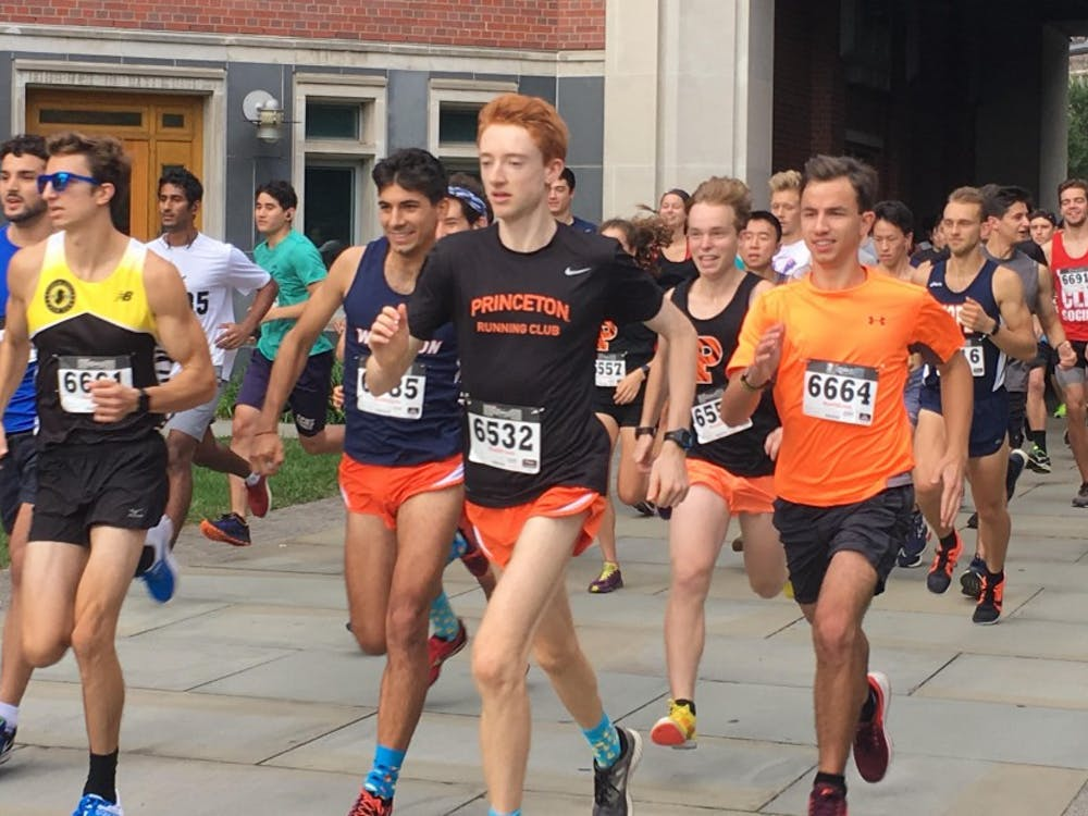 Runners take-off from the starting line at Bloomberg Hall Saturday morning at 10 a.m.