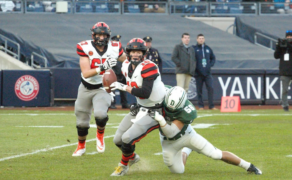 <p>Kevin Davidson was sacked on Princeton's first play from scrimmage.</p> <h6>Photo Credit: Jack Graham / The Daily Princetonian</h6>
