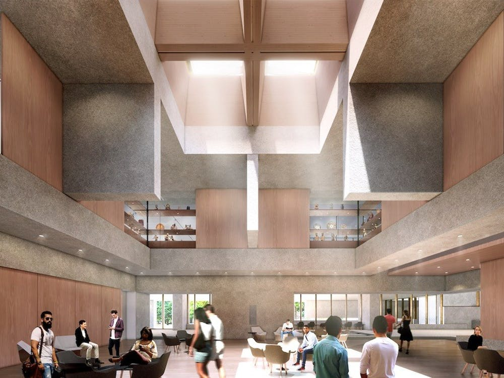 Traditional materials will be used in the new building, as seen in this rendering of the museum's planned Grand Hall. Courtesy of Adjaye Associates