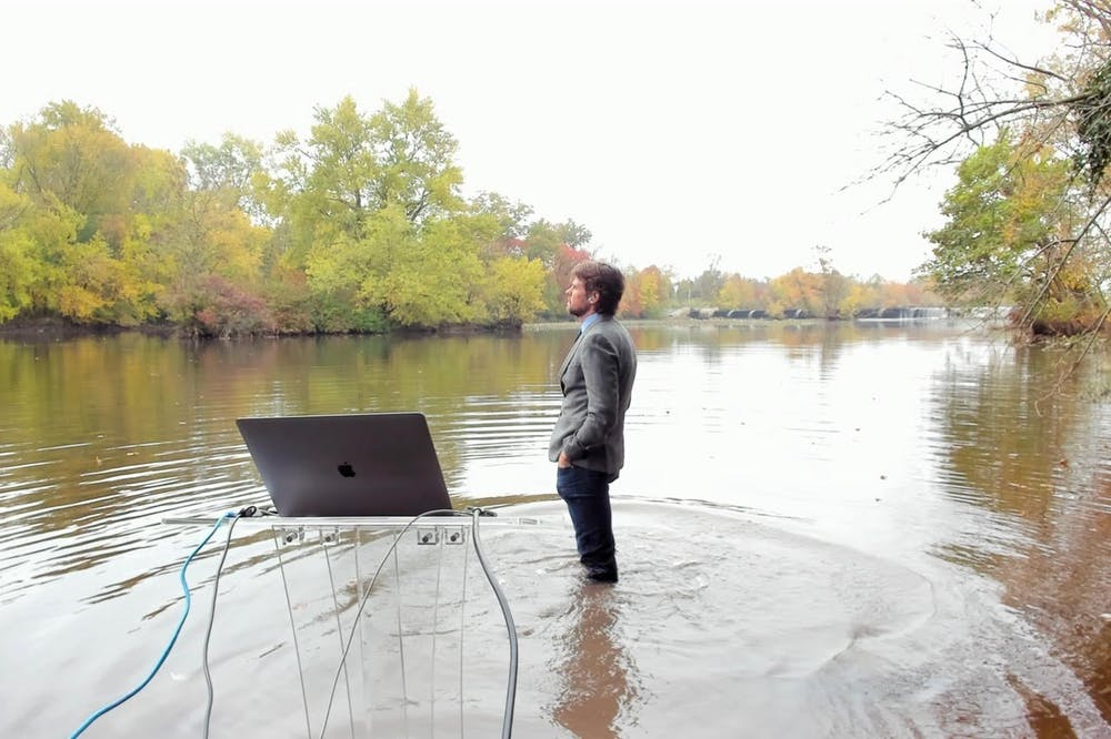 <h5>Professor Rob Pringle in the water near his house.</h5> <h6>Courtesy of Professor Rob Pringle</h6>