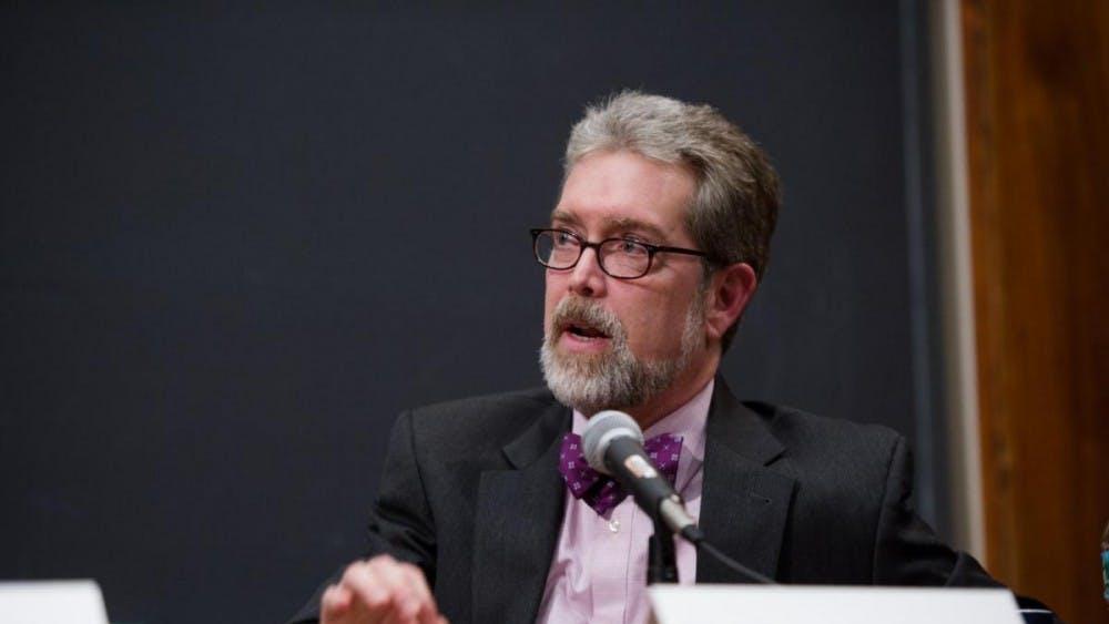 Matt Franck, University Federalist Society advisor, speaking at Antonin Scalia roundtable in Feb. 2016. Courtesy of James Madison Program in American Ideals and Institutions.
