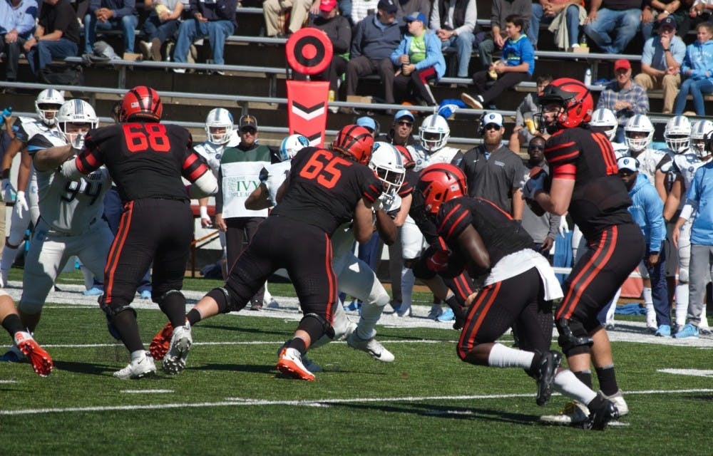 Caption: Kevin Davidson and the Princeton offensive line will be challenged by Harvard this weekend  Photo Credit: Jack Graham / The Daily Princetonian