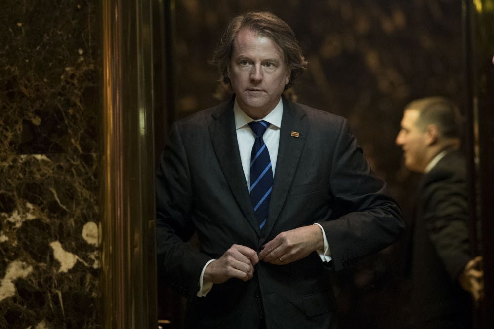 NEW YORK, NY - NOVEMBER 15: Don McGahn, general counsel for the Trump transition team, gets into an elevator in the lobby at Trump Tower, November 15, 2016 in New York City. President-elect Donald Trump is in the process of choosing his presidential cabinet as he transitions from a candidate to the president-elect. (Photo by Drew Angerer/Getty Images)